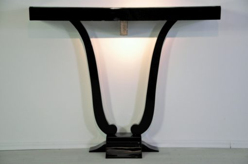 Art Deco, antique, original, rare, console, Lyra, high gloss, black, unique, high quality, elegant, living room, restored, french