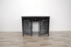 Antique Desk, Art Deco France1940s, white leather plate, Paintjob: highgloss black exterior/ mat white interior, free adjustable