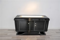 highgloss pianolacquer, classic design with rounded corners, illuminated glass plate, wonderful curved foot