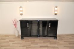 German Art Deco Sideboard, Saarland 1930, 12 layers of paint in highgloss black, Massive chromehandles, plenty of storage and clean interior