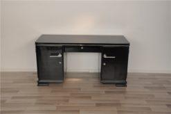 Art Deco desk, elegant Design - timeless pianolacquer, big chrome handles, plenty of storage space, original france 1938