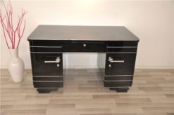 Art Deco Desk, timeless Design with rounded corners, rotating chromelines, striking chromehandles, handpolished topplate