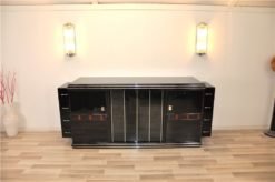 Art Deco Sideboard, unique Design, highgloss pianolacquer, detailed wooden ornamentation, Chromebars, france 1930