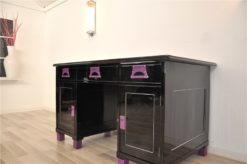 Art Deco Desk, unique Design, pink fittings, pink topplate and feet, clean interior in black, painted backboard