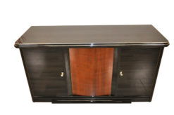 pianolacquer in highgloss black, noble wooden furnier, plenty of storage, extension with fabric topping