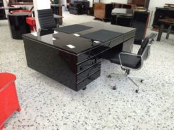 Art Deco Desk, completely restored, pianolacqer highgloss black, free adjustable, lacobelplate with a leather pad