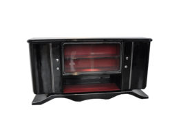 Art Deco Lowboard, curved foot, red interior - Absolute Eyecatcher!, big showcase-compartment with chromapplications, highgloss black pianolacquer