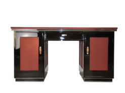 classic Art Deco desk, 2 swing doors, central drawers, chromebands, chromefittings, handpolished, absolute eyecatcher
