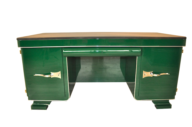 Details About Green Art Deco Desk With Leather Top