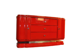 Art Deco Lowboard, red highgloss paintjob, wonderful swing doors, 3 drawers with chromehandles, chromeapplications on the foot