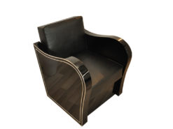 Art Deco armachair, swung armrests, black leather, rotating chromelines