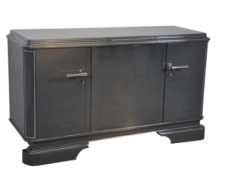 Art Deco Sideboard, france 1929, unique color - metallic grey, 3 curved doors, elegant design, chrome applications
