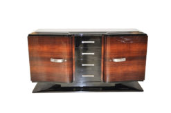 Art Deco Sideboard, higloss paintjob (interior & exterior), france foot, original fittings, glasplate, 4 big drawers, curved swingdoors