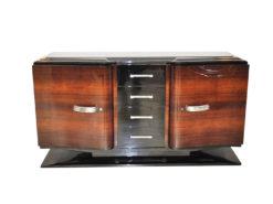 Art Deco Sideboard, higloss paintjob (interior & exterior), france foot, original fittings, glasplate, 4 big drawers, curved swingdoors
