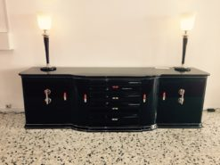 Art Deco Sideboard, wonderful big chromefittings, 4 curved doors and 4 drawers , original keys, pianolacquer