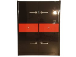 Art Deco Bar Cabinet, glas shelves, plenty of storage, high gloss black and red, chrome handles, dining room,
