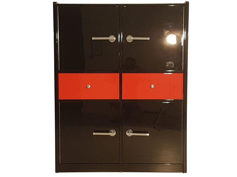 Art Deco Bar Cabinet, Glas Shelves, Plenty Of Storage, High Gloss Black And