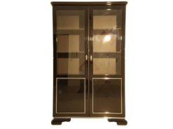 Art Deco Vitrine, rotating chromelines, pianolacquer, 3 adjustable shelves, original locker and keys, 2 framed glass panes