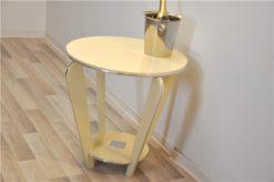 Art Deco table, wonderful shape, handpolished, chromelines, ivory paintjob, unique furniture