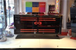 Art Deco Sideboard, wonderful Design, red ornamentation, interior and fittings also in red, big curved doors, 2 big drawers