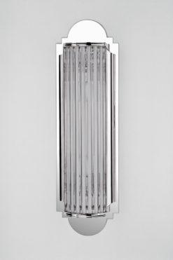 Art Deco wall lamp Biarritz, chrome base, handmade, glass bars