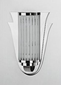 Wall lamp Strasbourg, chrome ornamentations, filigree glass bars, Art Deco, great design