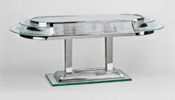 Art Deco table lamp nizza, elegant chromebase, handmade, fine glass panels