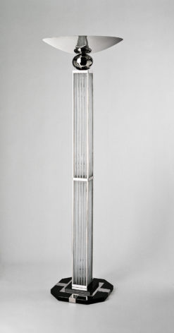 Beautiful Art Deco standing lamp grenoble, height: 190cm, luxurious chromedesign with glass bars, highgloss black foot