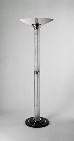 Luxurious Art Deco standinglamp LeMans, big lampshade, chromebase, highgloss black foot