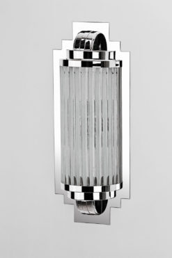 luxurious Art Deco wall lamp Cannes, handmade, chrome elements and glass, great design