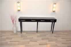 Art Deco Console Table, 5 filigree legs, highgloss black paintjob, Lacobellglass, 2 big drawers