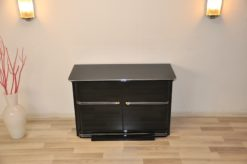 BelgianArt Deco Commode, wonderful body, chromelines, handpolished, highgloss black, clean interior