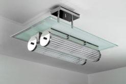 Art Deco ceiling lamp bruxelle, great chrome and glass elements, unique design,