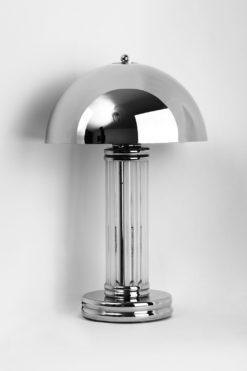 Art Deco Tablelamp Dom, chromed lampshade, fine glasbars, chromefoot, wonderful design