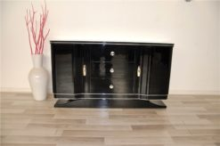 Art Deco Lowboard, curved doors, 3 drawers with chromefittings, wonderful foot, pianolacquer