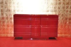 Art Deco Commode, Chromeliner, unique paintjpb in highgloss red, chromelines, interior in matt black