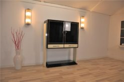 Art Deco Highboard, 2-tone paintjob, ivory/ highgloss black, unique Design, great interior