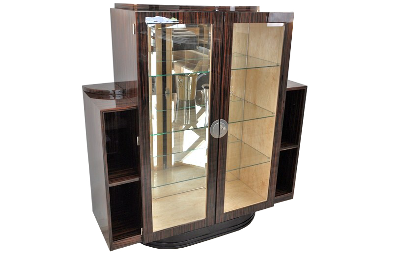 art deco vitrine made of macassar ebay. Black Bedroom Furniture Sets. Home Design Ideas