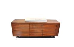 Art Deco XXl-basin, Santos-rosewood, Villeroy&Boch, highgloss black foot, unique design