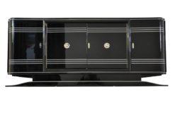 Art Deco Sideboard, Chromliner, red bar compartement, highgloss black, french base, living room, buffet, credenza, elegant