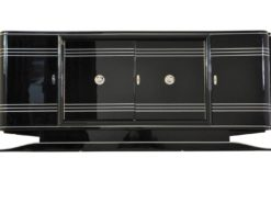 Art Deco Sideboard, Chromliner, red bar compartement, highgloss black, french base, living room, buffet, credenza, elegant