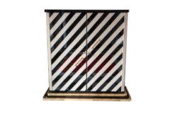 Art Deco bar cabinet, highboard, black and white, highgloss lacquer, interior in matt black, adjustable shelves, unique design
