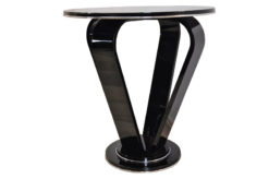 Highgloss Black Crown Sidetable, Art Deco, Pianolacquer , wonderful form, elegant design