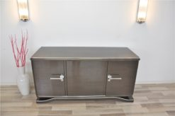 Lowboard Sideboard in Metallic Grey, highgloss paintjob, unique design,great body language, chromehandles
