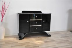 Art Deco Commode, highgloss black finish, piano lacquer, wonderful curved foot, great chrome elements