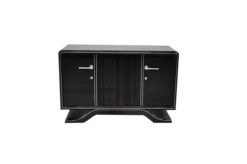 Highgloss Art Deco Sideboard, Pianolacquer, Chromelines, round Body Form, clean interior