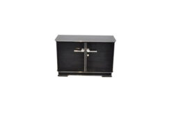 Petite Art Deco Commode, highgloss black, chrome elements, great feet
