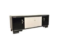 Art Deco Lowboard, Highglossblack and Highglosswhite, Sliding doors, elegant design, absolute eyecatcher