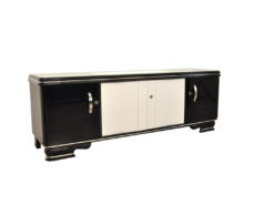 Art Deco Lowboard, Highglossblack and Highglosswhite, Sliding doors, elegant design, absolute eyecatcher