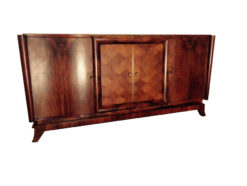 rare french sideboard made of british mahogany, absolute unique precious wood,big dimensions, chess furnier on the middle doors, plenty of storage space